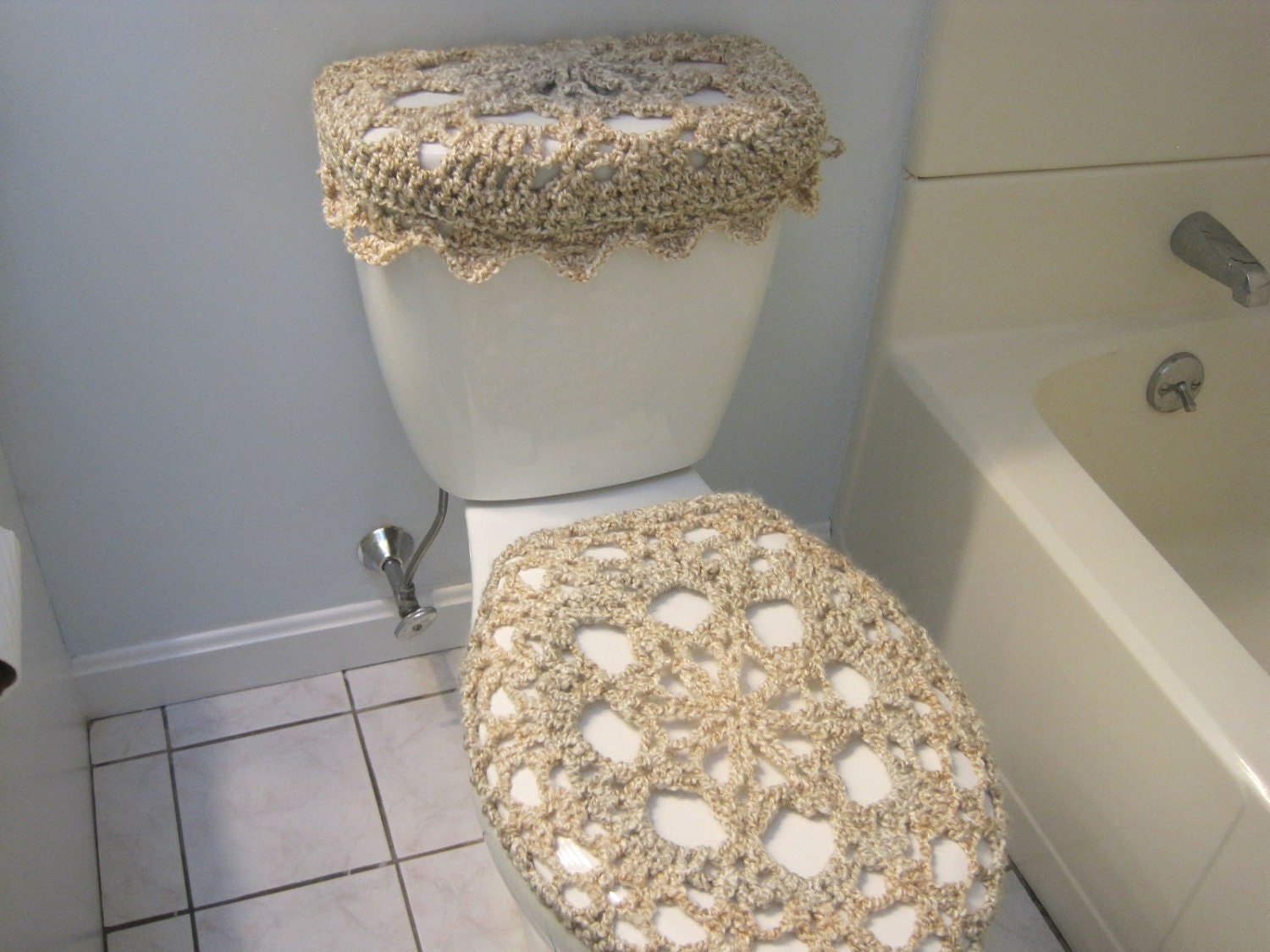 Set of 2 Crochet Covers for Toilet Seat & Toilet Tank Lid ...