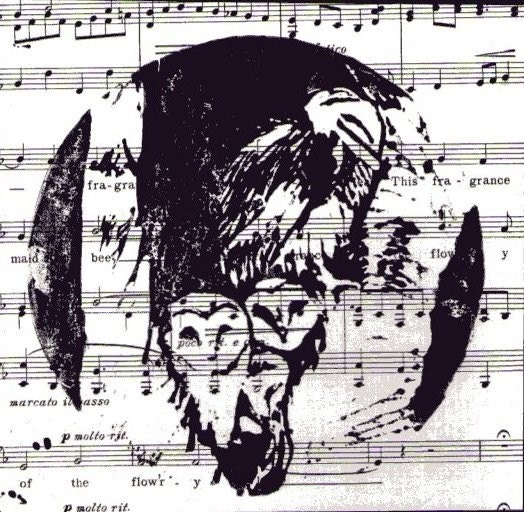 Family of owls linocut print on recycled music score paper