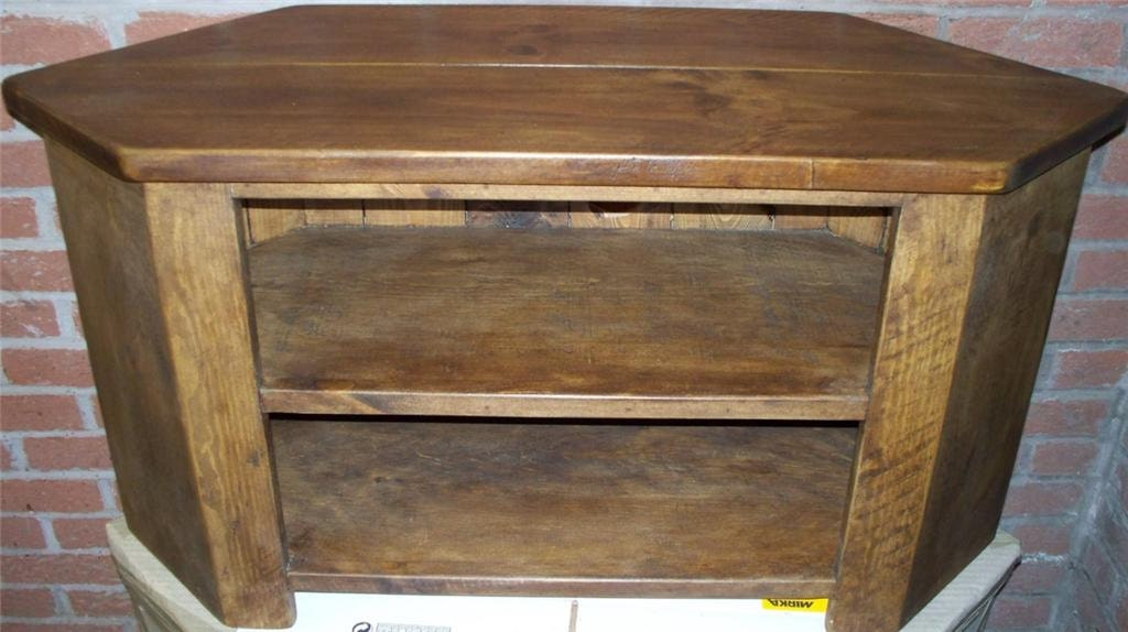 Rustic plank Furniture NEW Real Solid Wood Corner Tv Cabinet Stand Entertainment Unit With Open Shelves  Rustic Plank pine indigo Furniture