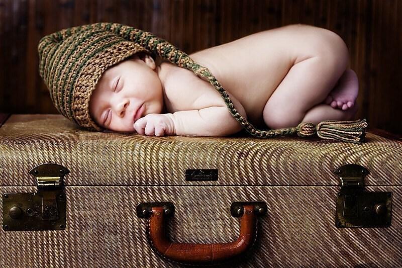 نوزاد جن کلاه ارتش قهوهای مایل به زرد و راه راه زیتون