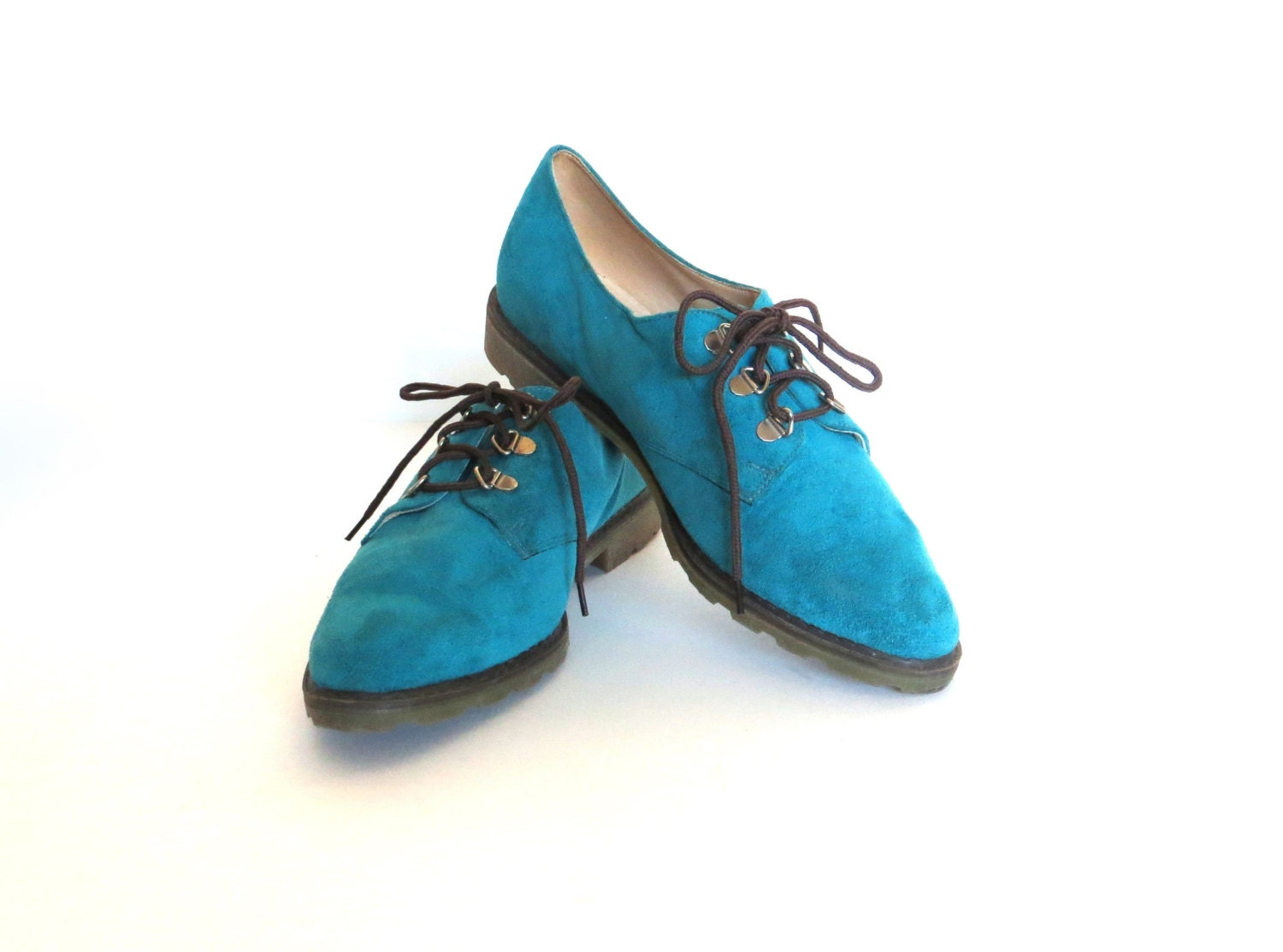 Vintage Lace Up Oxfords / Turquoise Suede / Linda Lundstrom / Size 7.5 - almondtreevintage
