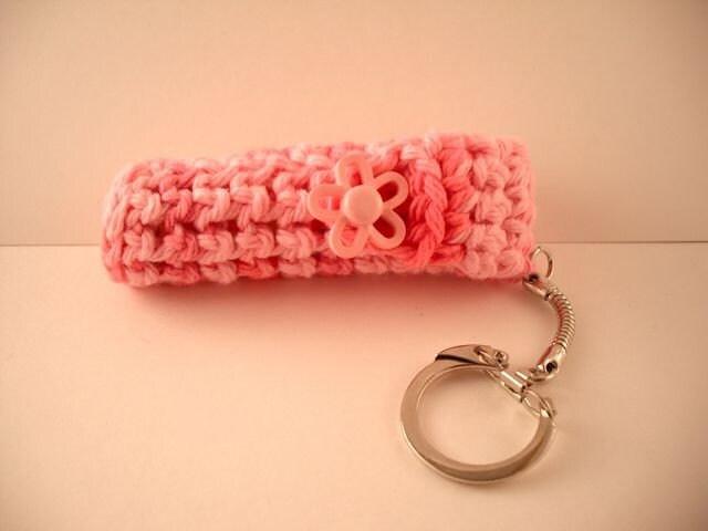 Crochet Keychain Lip Balm Holder - Rose Scented