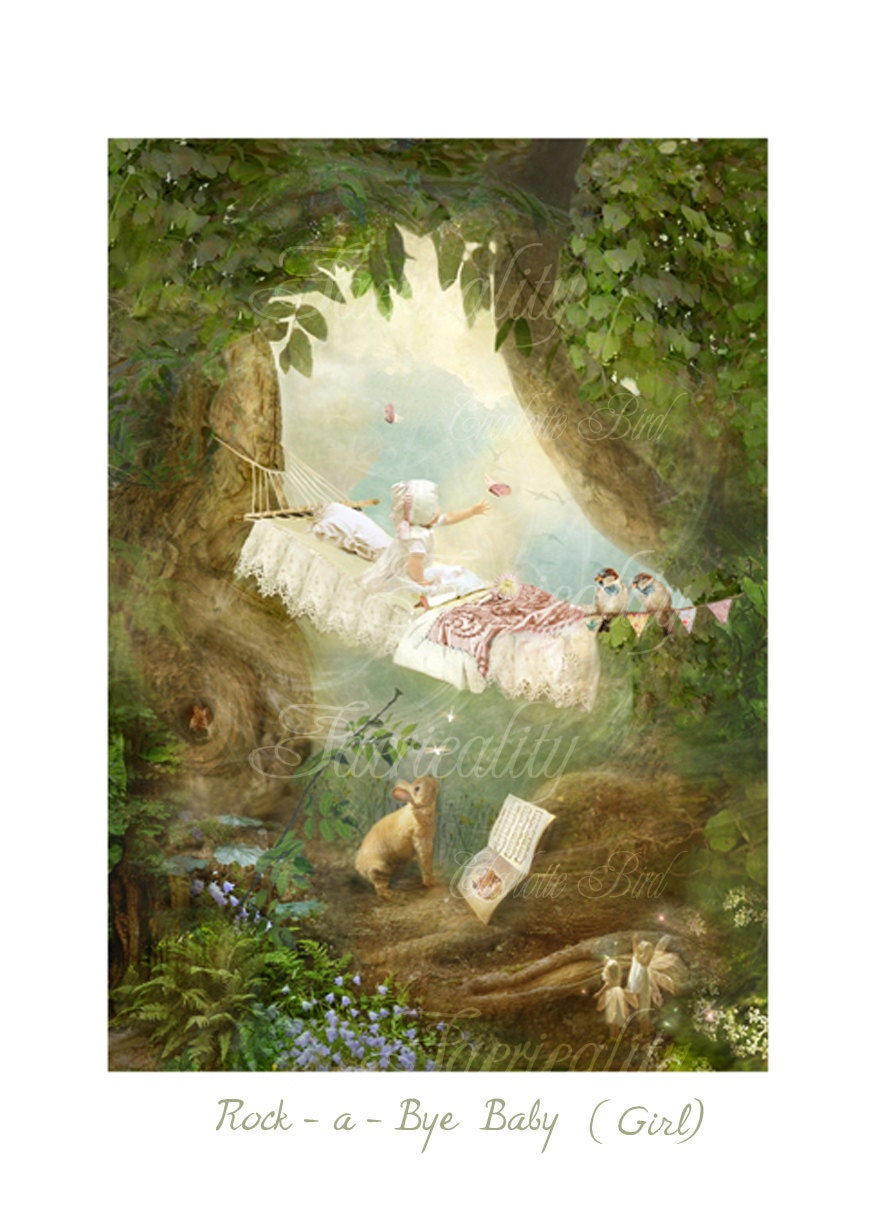 Items similar to fairy nursery rhyme print 39 rock a bye for Art sites like etsy