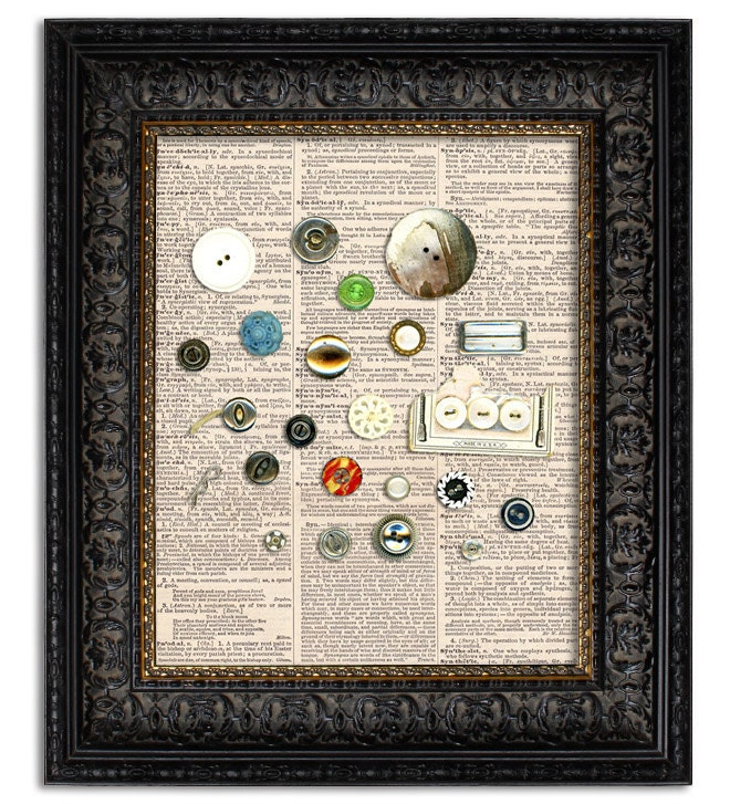 Vintage Button Wall Decor : Items similar to vintage button collage art print wall