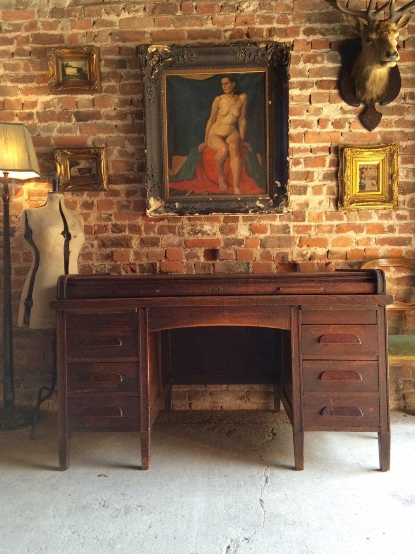 Stunning Antique Early 20th Century Oak Kneehole Twin Pedestal Desk Roll Top