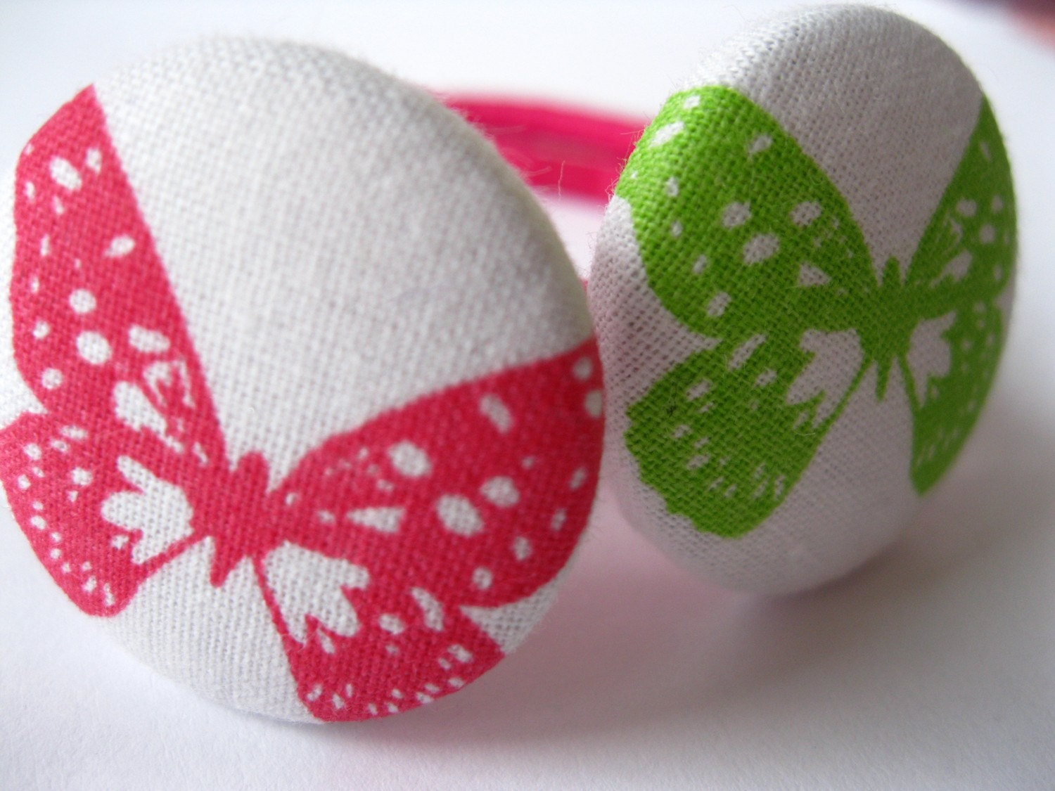 Button Ponies- Set of Two- Pink and Green Butterflies on White Skies...