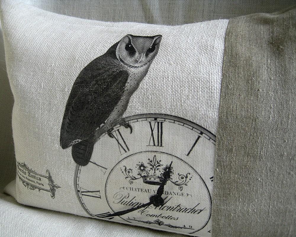 Burlap and Linen French Inspired Owl Pillowcase - ellenidesign