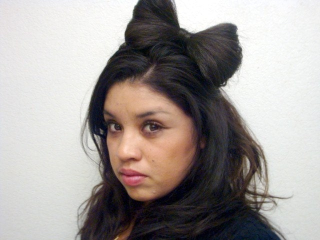lady gaga hair bow. Brunette Lady Gaga Hair Bow