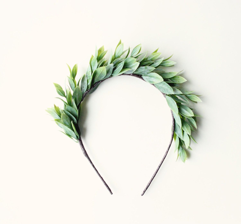 Leaf crown, boho goddess head piece, headband, Grecian-inspired head piece, green leaf crown - APHRODITE - whichgoose
