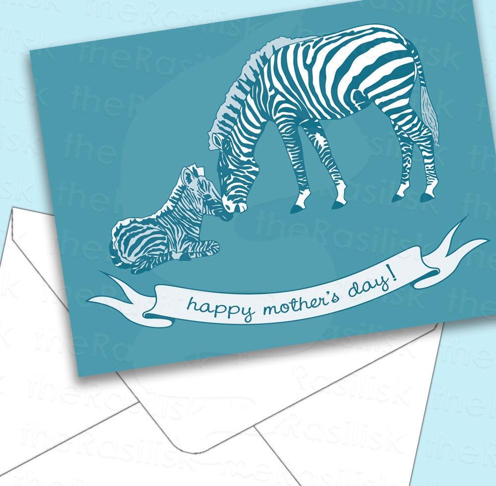 Zebras Printable Mother 39s Day Card by theRasilisk on Etsy blue illustrated