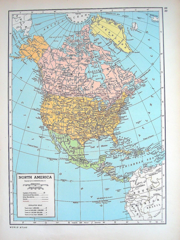 North America Alaska Hawaii Map 1947 Large 2 By
