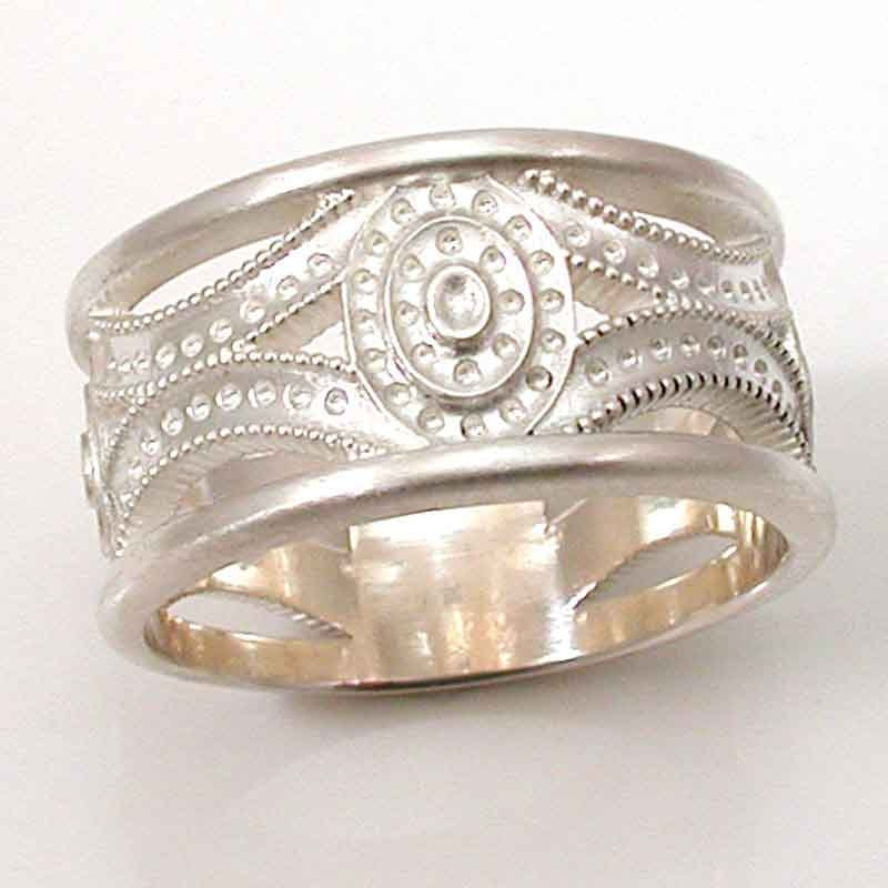 mens silver ring deco brushed by swankmetalsmithing on