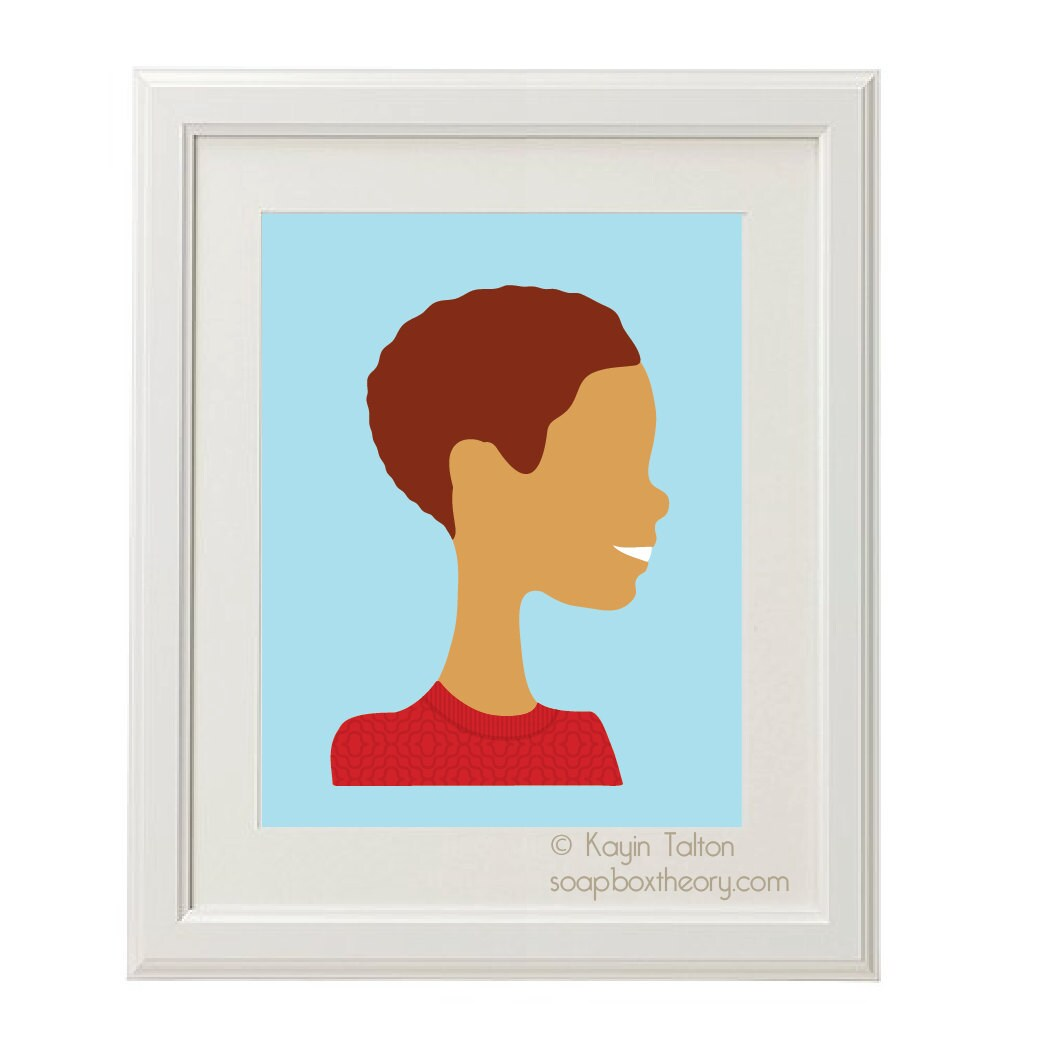 Print: Boy in warm red sweater with wavy hair - Customized Children's art & decor