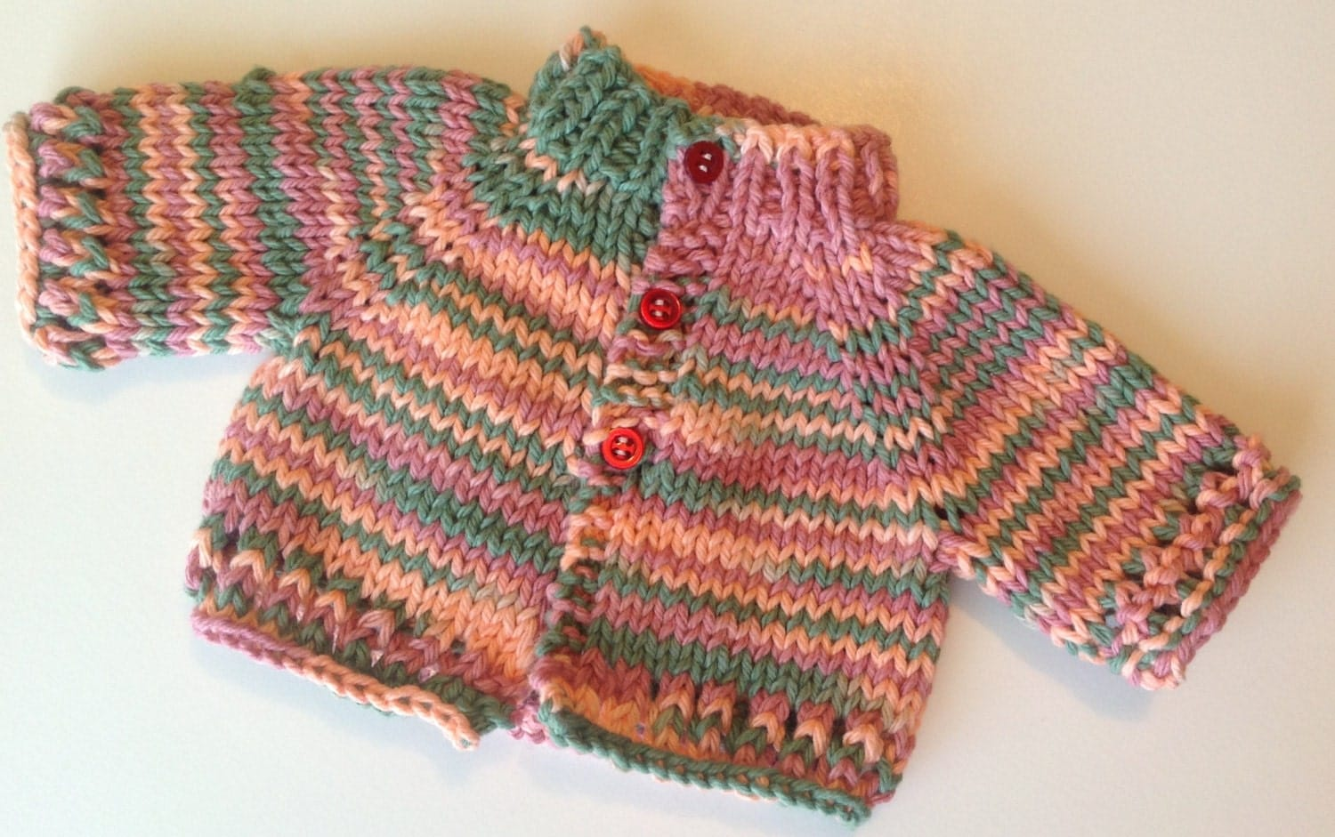 "Doll Cardigan for 18"" Dolls - Peach, Rose, Green - MunchkinWear2"