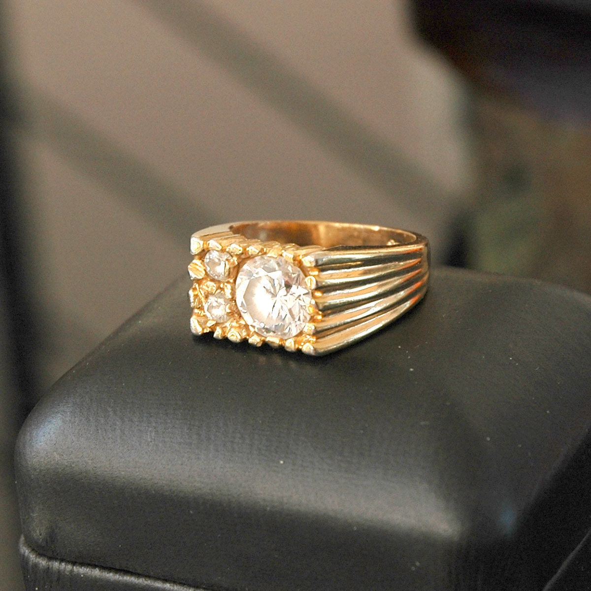 Men s High Roller Ring CZ Stones 1970s 18K HGE by VWayne on Etsy