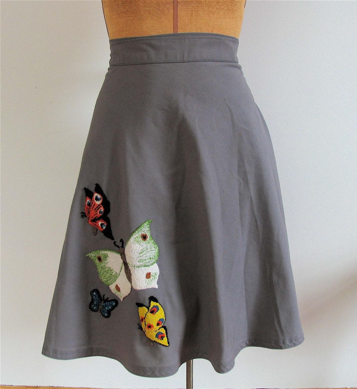 Vintage 70's FLYING BUTTERFLIES Wrap Skirt