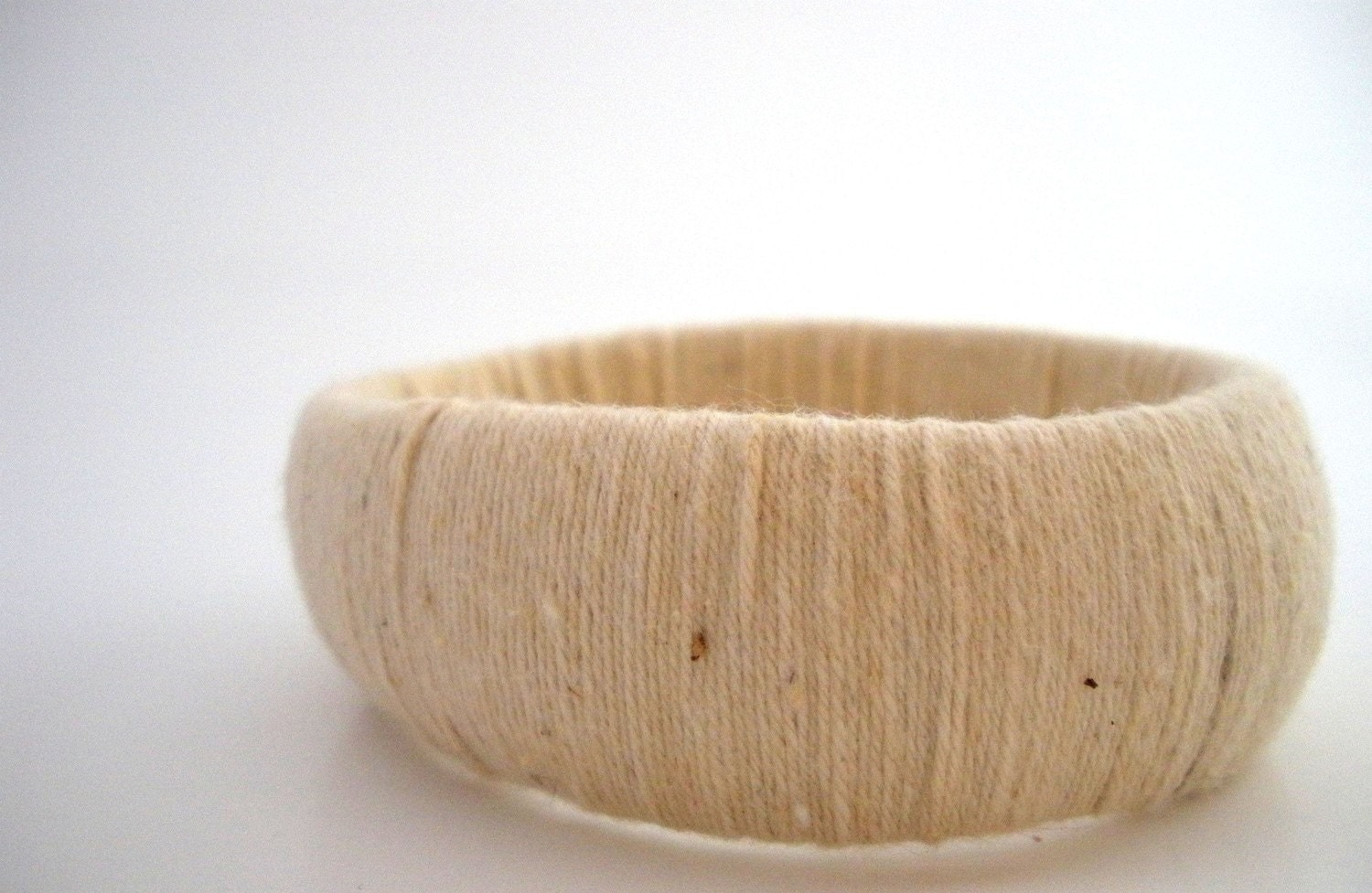 Taupe Thread Wrapped Bangle - Upcycled, Textured, Cream, Beige