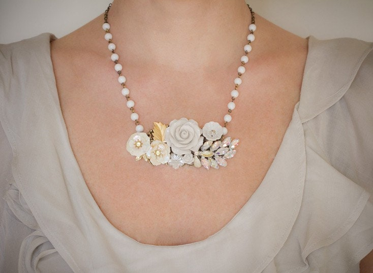Dreaming In White Vintage Collage Necklace