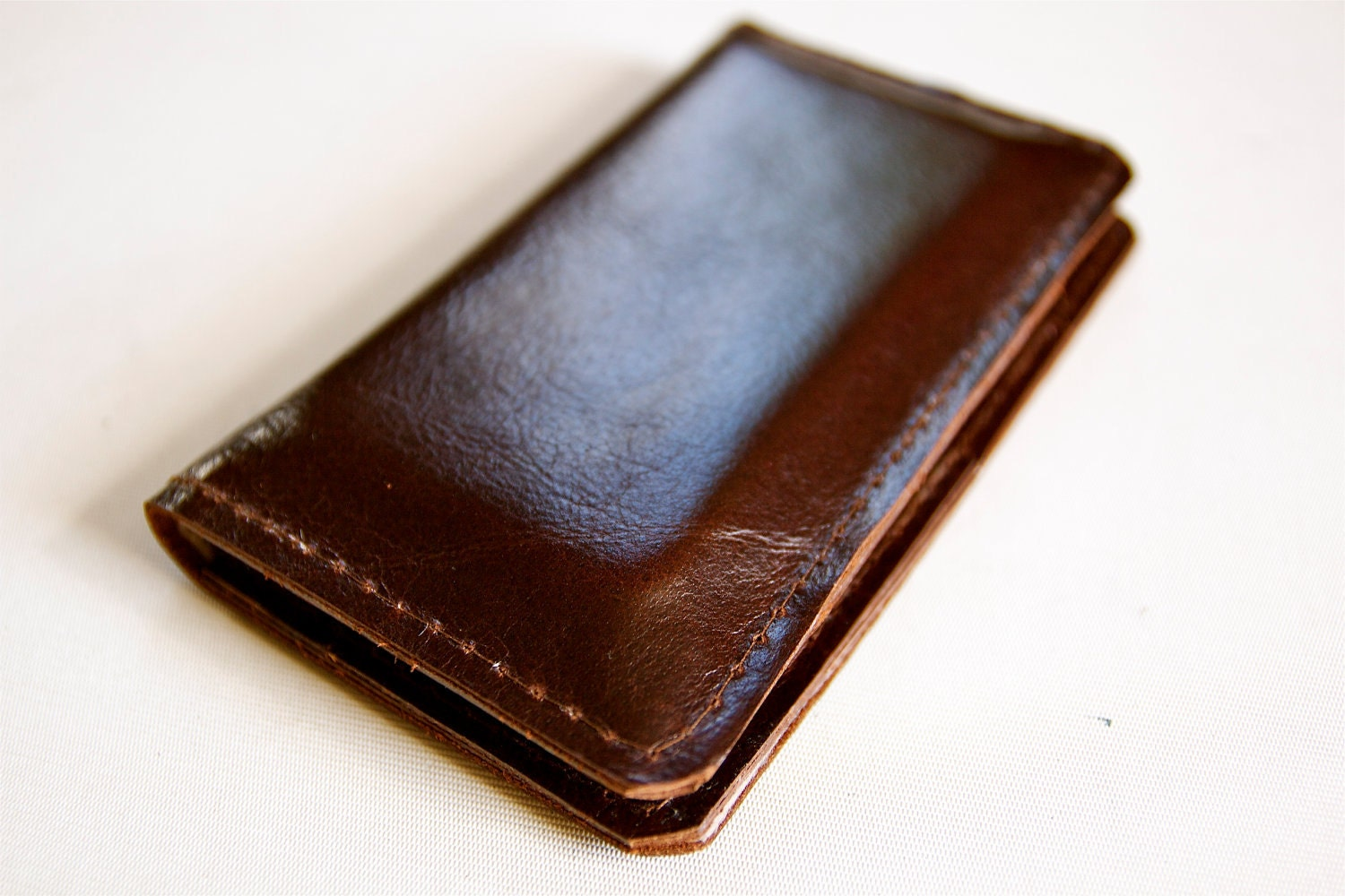 Leather iPhone Wallet in Dark Chocolate Brown - RobbieMoto