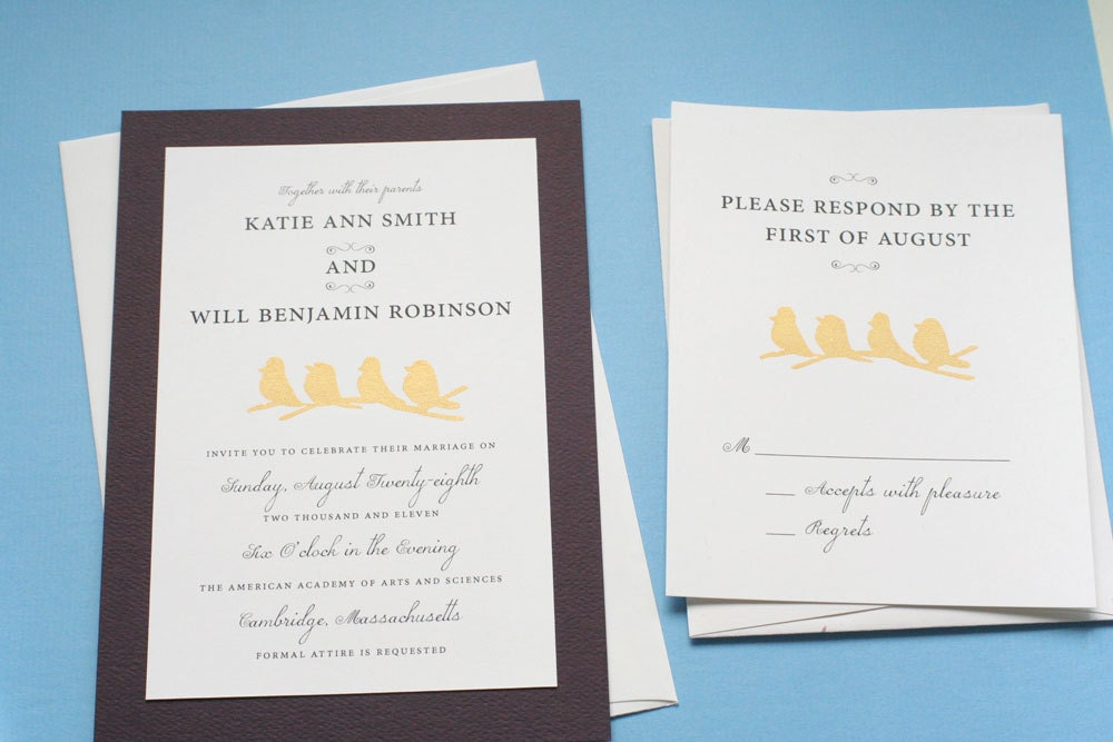 Four little birds screen-printed in metallic gold wedding Invitation