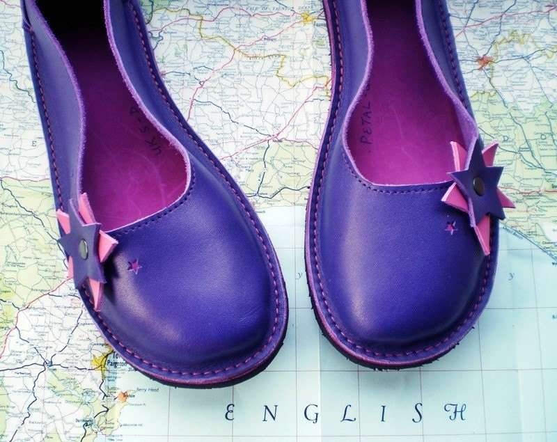 UK 5, Handmade leather shoes, D fitting, Violet, Rose, PETAL by Fairysteps 1597