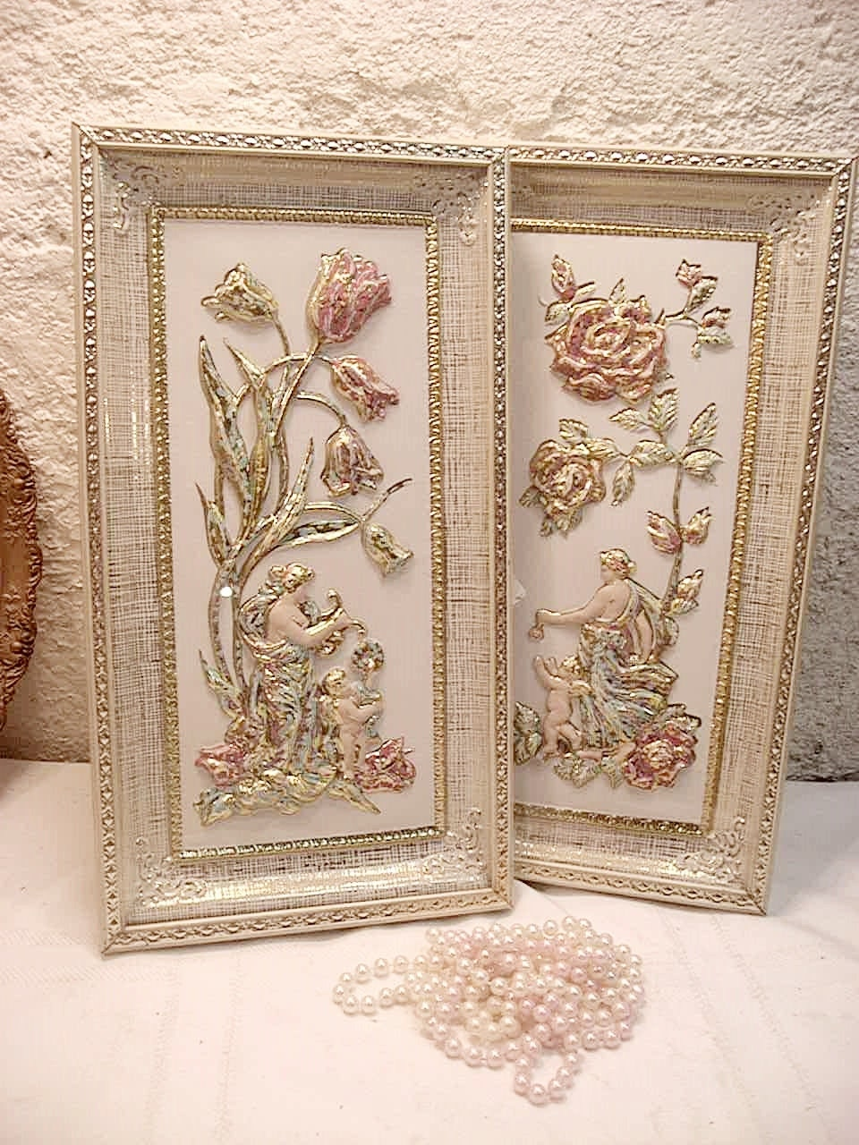 Vintage victorian wall art framed wall by annclarkinteriors for Victorian wall decor