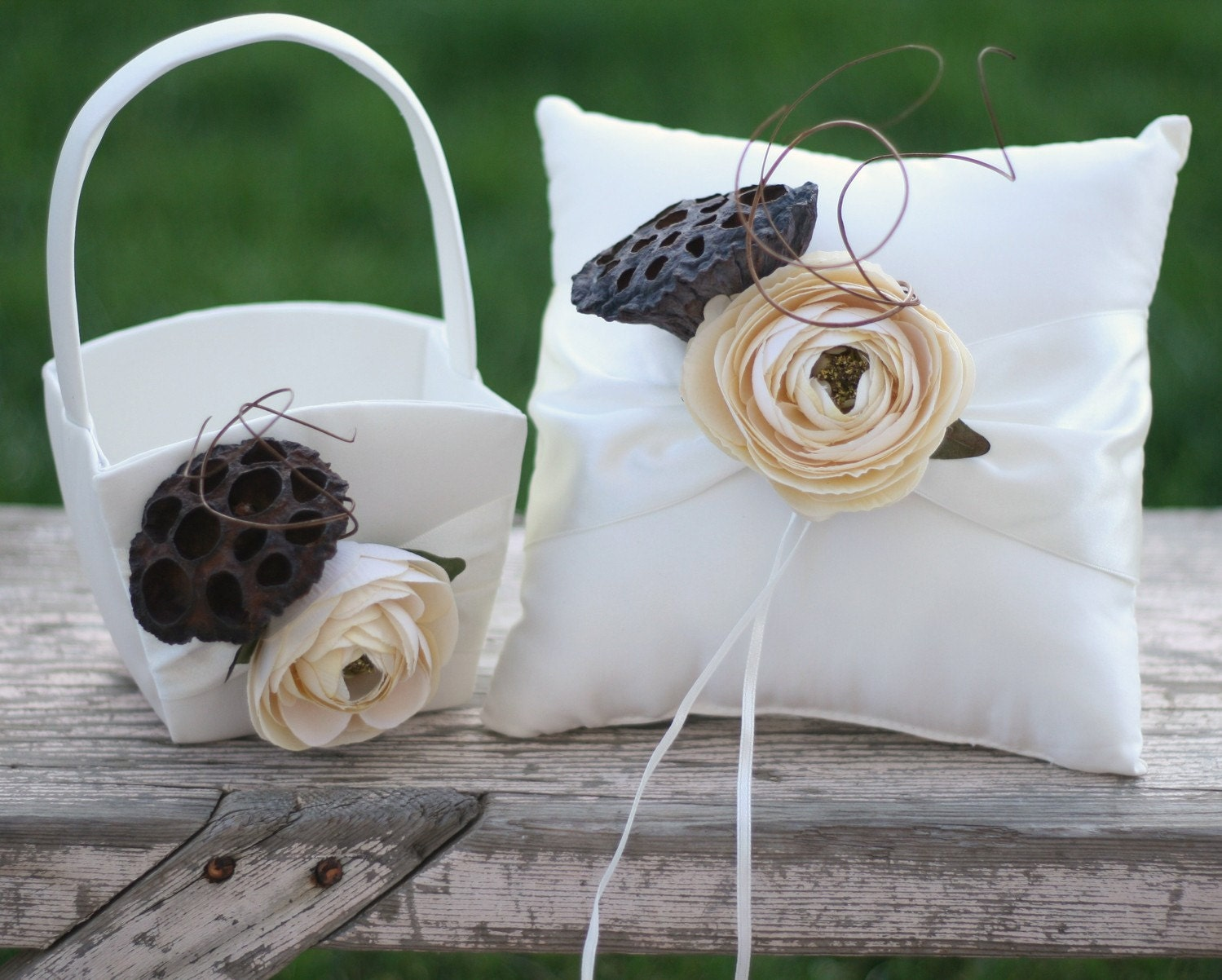 Rustic Woodland Elegant Flower Girl Basket and Ring Bearer Pillow SET Outdoor Fall Winter Earth Goddess Fairytale Cinderella Wedding