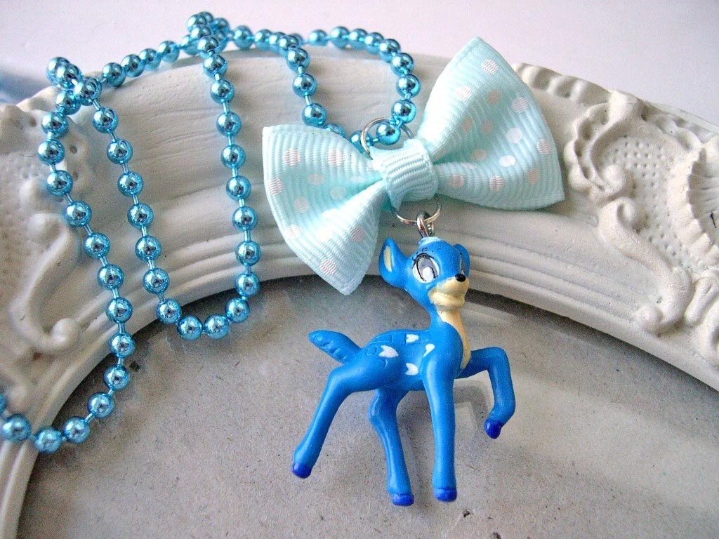 Blue Deer and Bow Kawaii Necklace