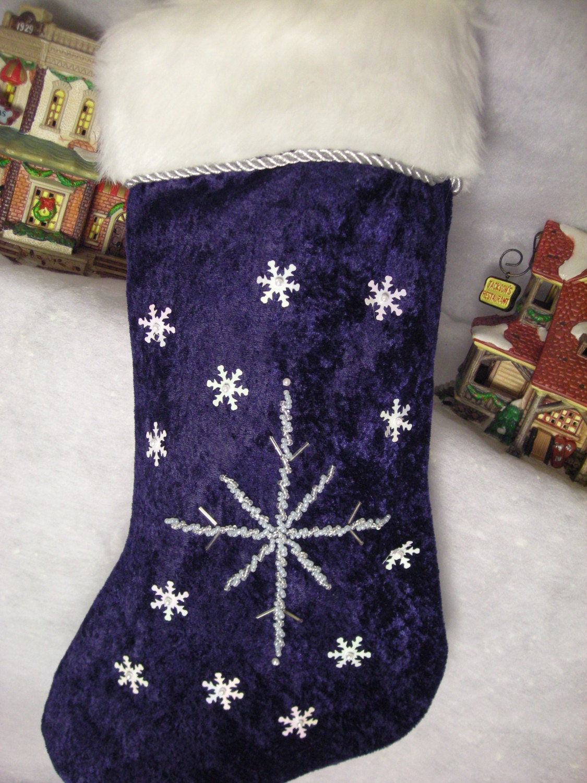 Elegant blue velvet christmas stocking by bluewatergifts on etsy