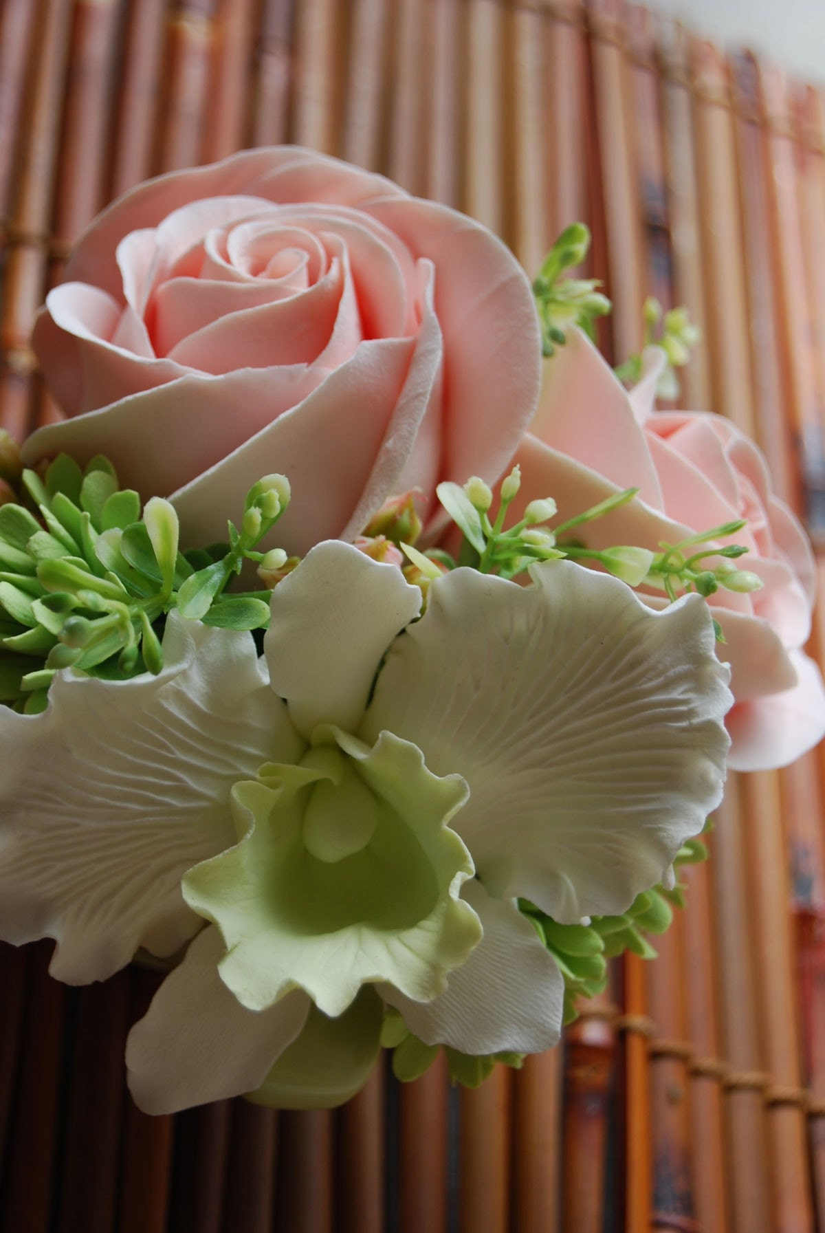 White Cattleya Orchid, Peach Roses and Green Cluster Flowers