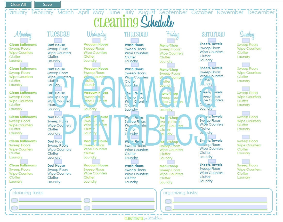 Editable perpetual cleaning schedule by cleanmamaprintables for Editable cleaning schedule