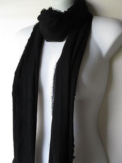 Gauze Scarf - Black Onyx Spring Summer Lightweight Fabric Scarf - Free Shipping