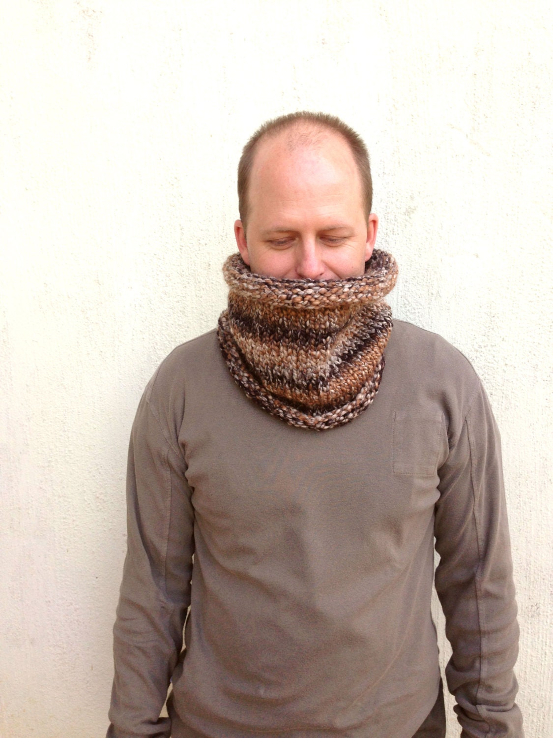 Knit Cowl, Ombre scarf, Unisex scarf, Neckwarmer, Unisex cowl, Multi - colored yarn, for him and for her - VeraJayne