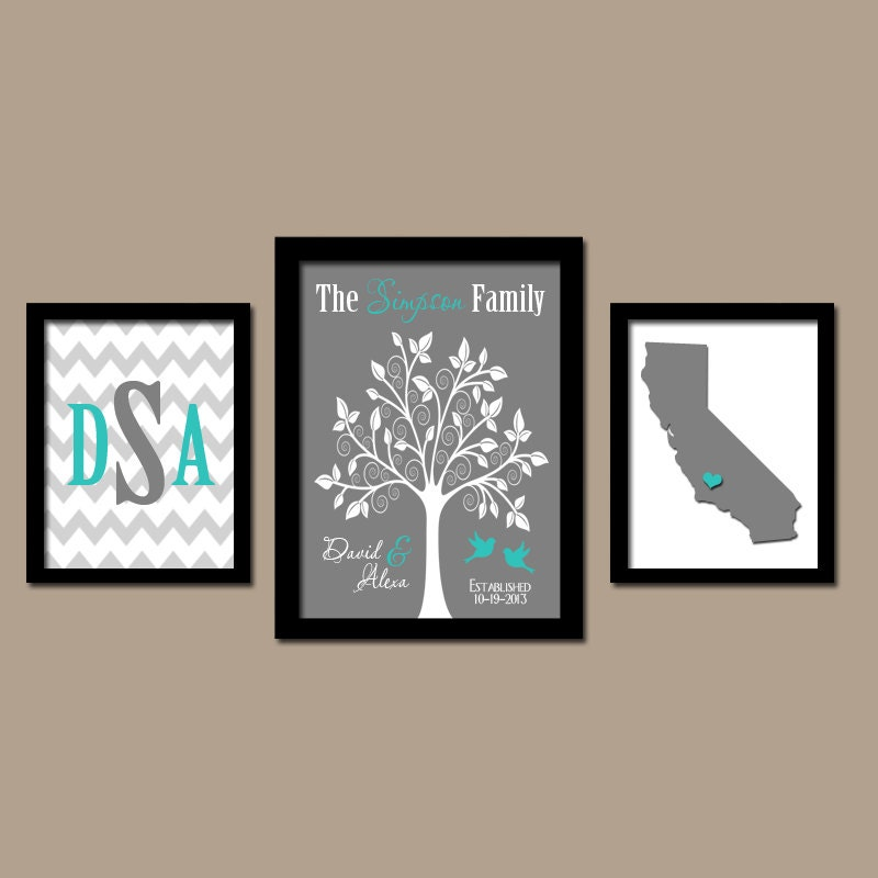 Family tree custom wall art canvas or prints city by trmdesign - Initial letter wall decor ...