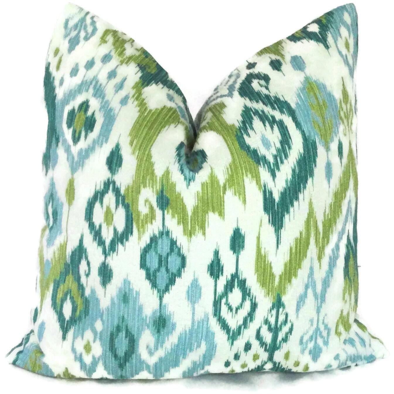 Green Ikat Throw Pillow : SALE Aqua and Green Ikat Decorative Pillow Cover by PopOColor