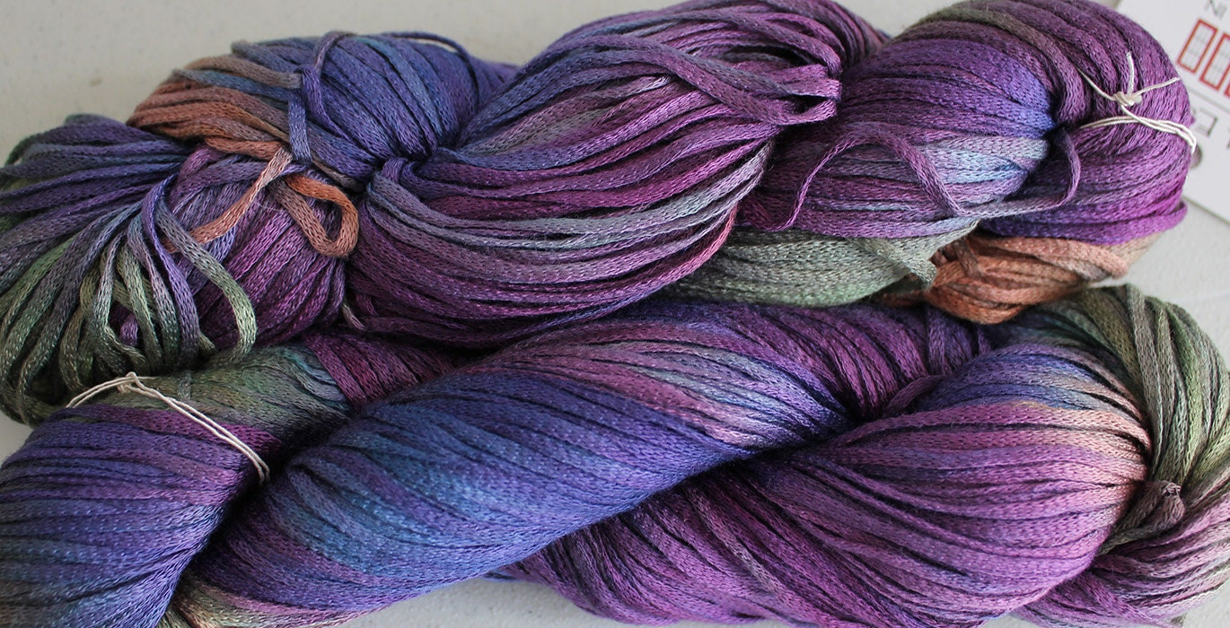 Hand dyed yarn, Rayon Tape Ribbon - Vineyard
