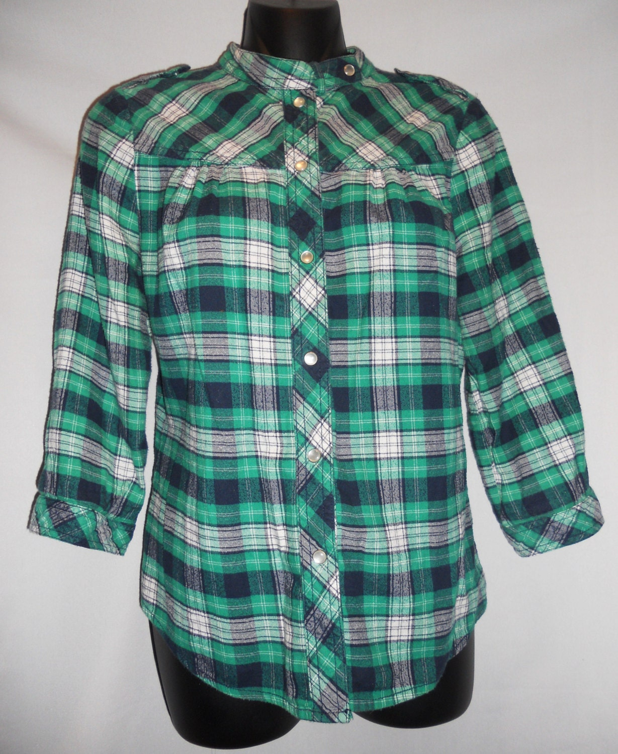 Vintage 80s plaid flannel womens shirt green by for Womens green checked shirt