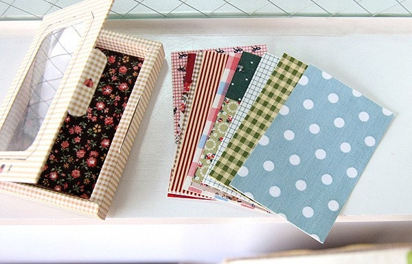 Cotton Fabric Scrapbook Stickers -12 Sheets