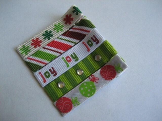 SALE - JOY JOY JOY - Set of 5 Christmas hair clips - Girl / Toddler / Baby