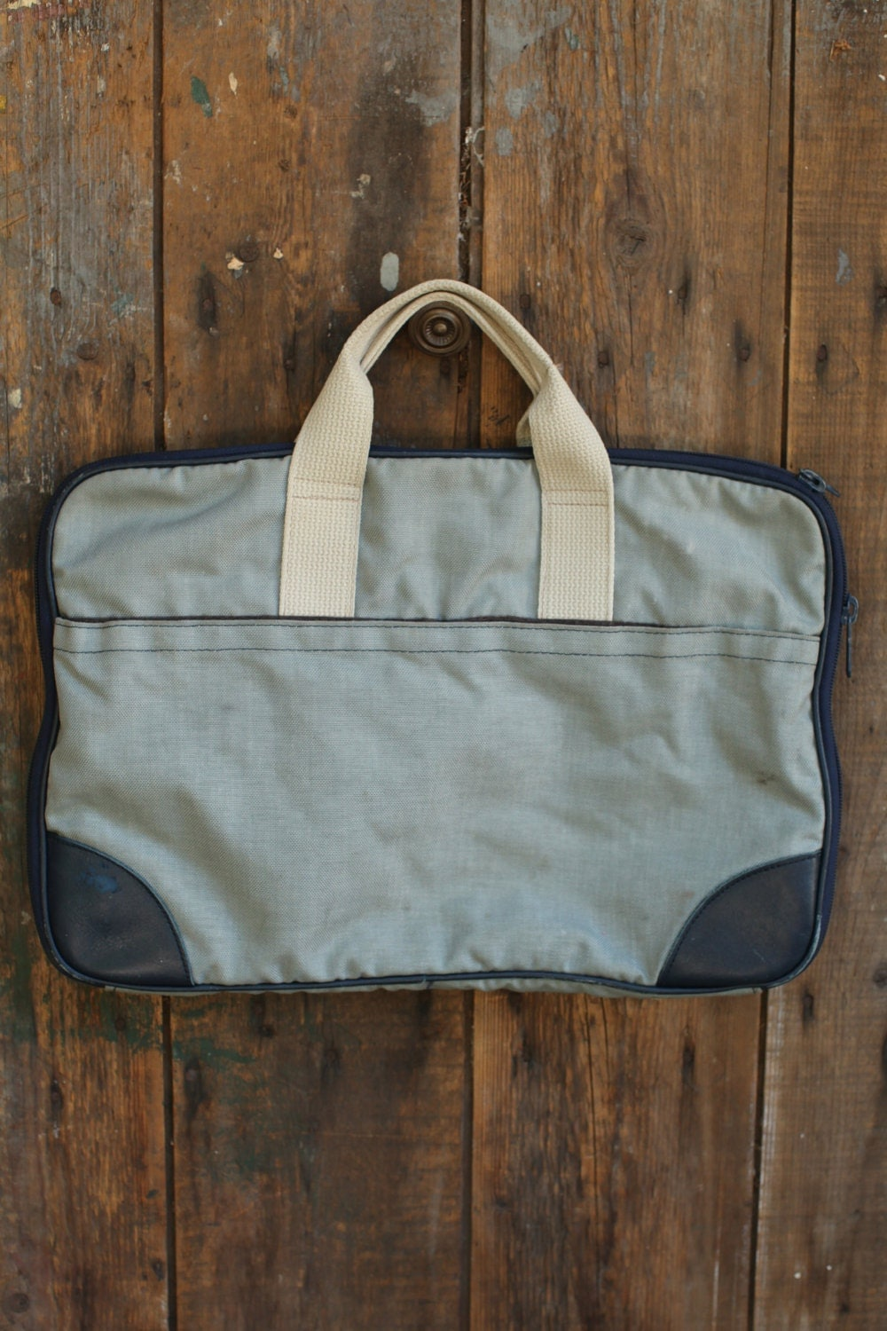 L L Bean Blue Canvas Briefcase Bag By Thisvintagething On