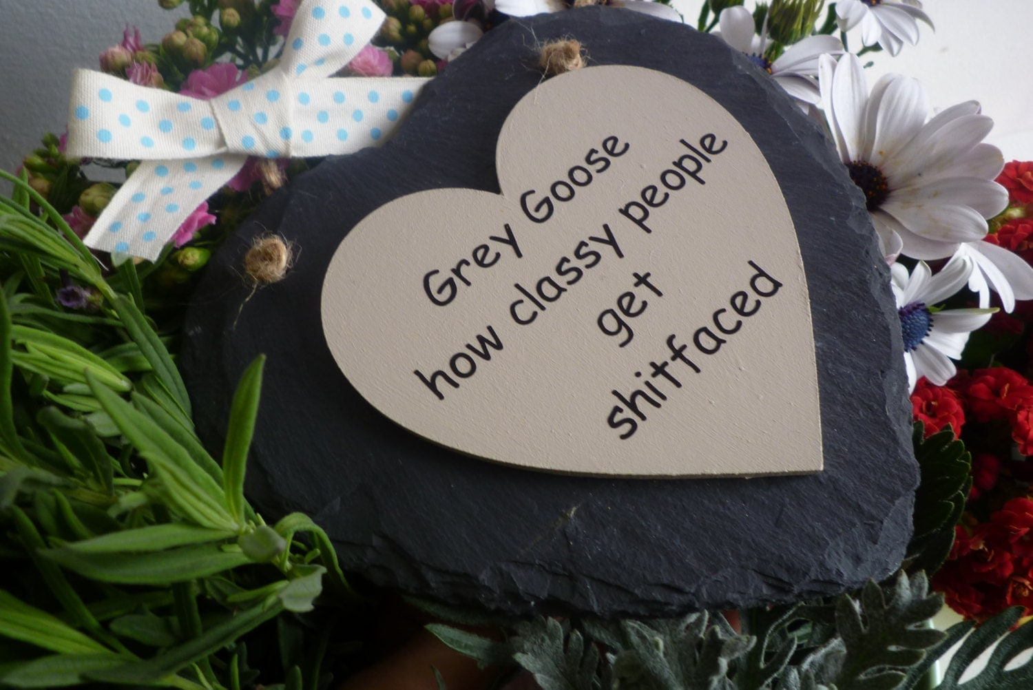 Grey Goose vodka how classy people get shitfaced handmade slate wooden sign plaque quote stocking filler friend gift xmas secret santa drink