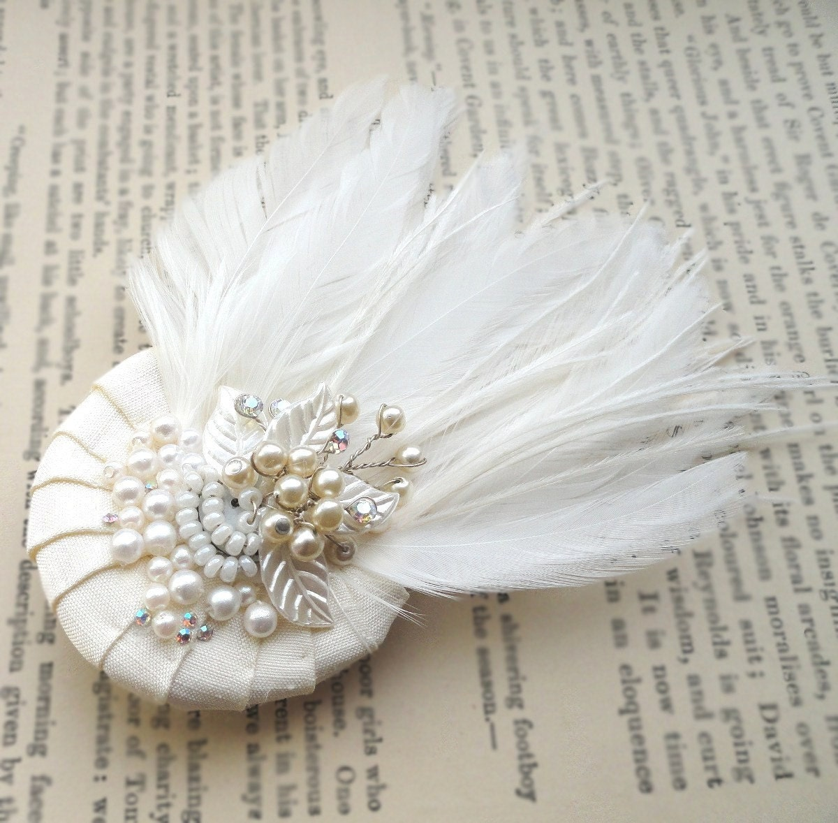 Pleated Sweet, bridal feather fascinator headpiece, needle sculpted silk, vintage beading