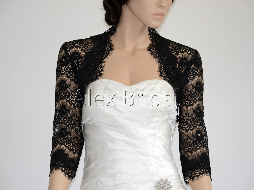 sleeve black lace bolero wedding jacket by alexbridal on Etsy