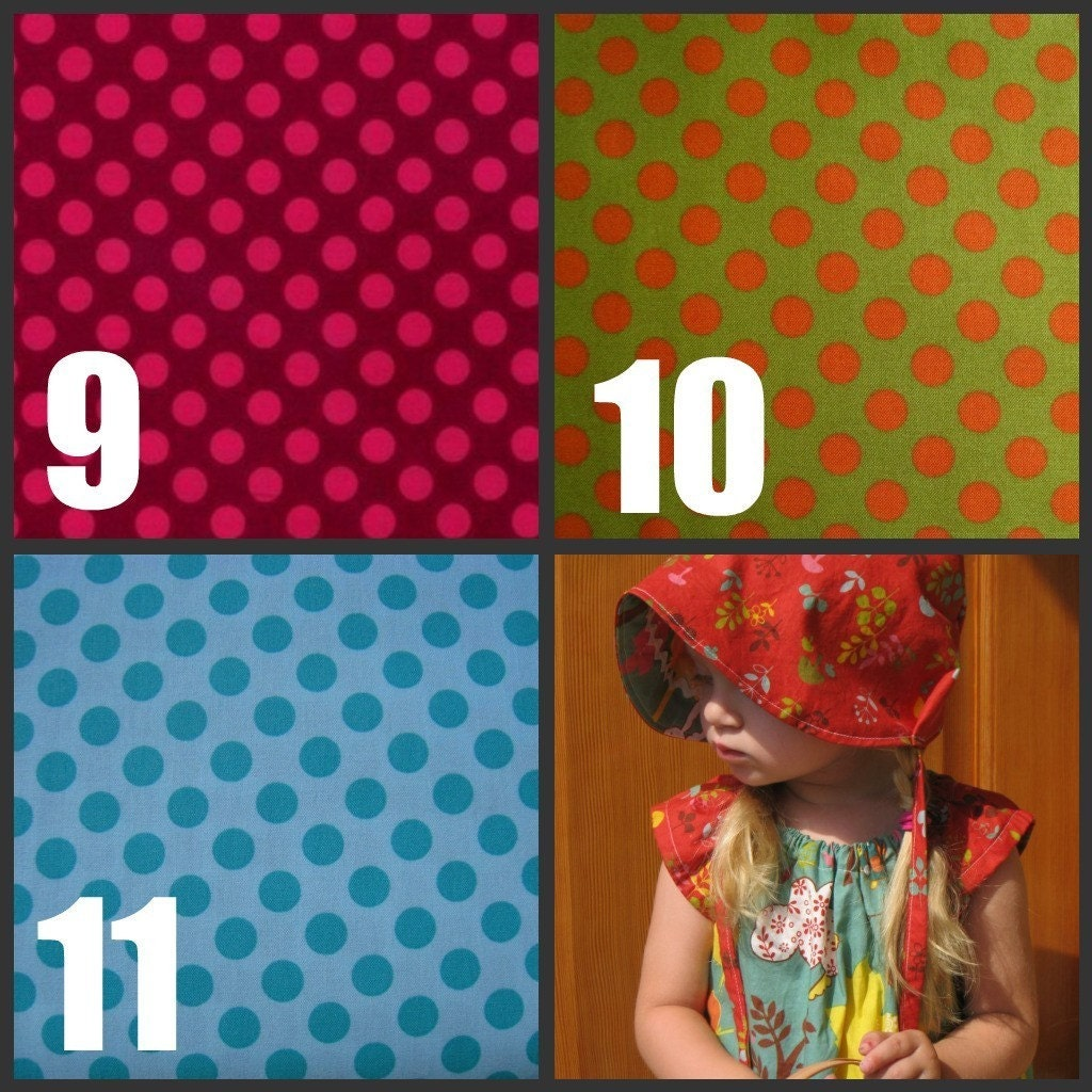 Design Your Own Reversible Bonnet- custom size- Woodland Collection