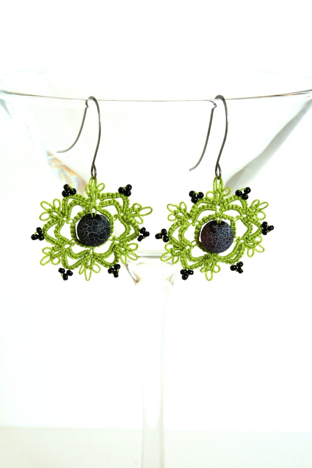 Black and green crocheted earrings