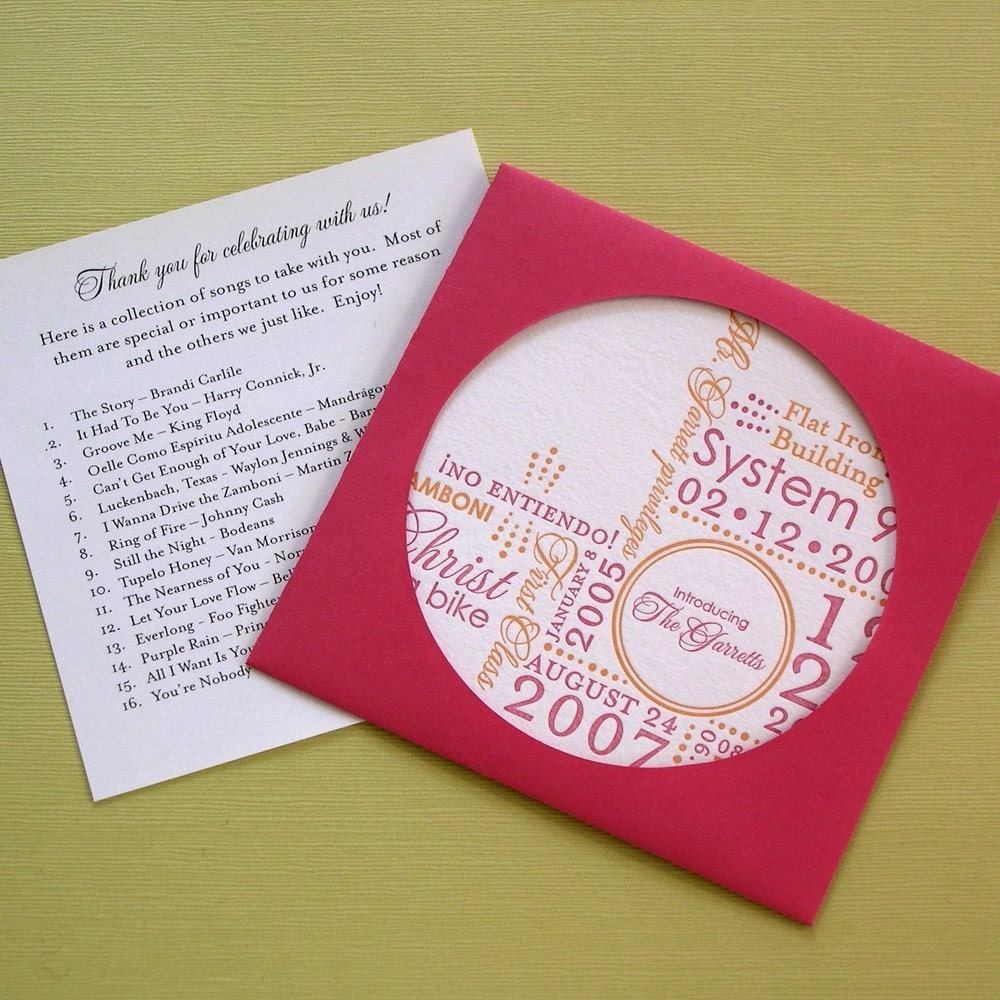 SAMPLE - Letterpress Wedding Favor CD