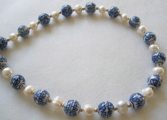 Pearls and Porcelain Necklace
