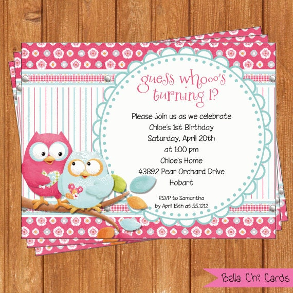 Whooot owls invitation kids birthday printable editable digital pdf file instant download for Editable birthday cards
