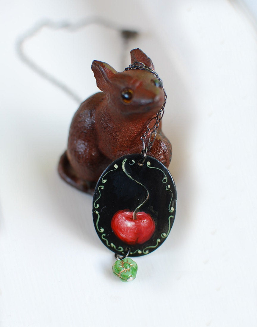 Cherry Unique one of a kind hand painted pendant by TheNightjar
