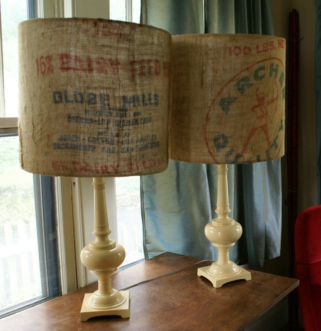 Pair of Vintage brass lamps with custom feed sack lampshades